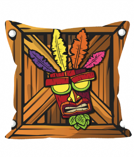 "Aku Aku Uka Uka Crate from Crash Bandicoot Retro Games 12"" Sofa Cushion"